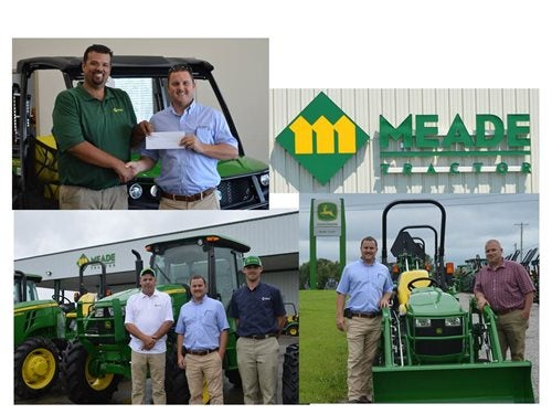 Meade tractor employees posing with green tractors